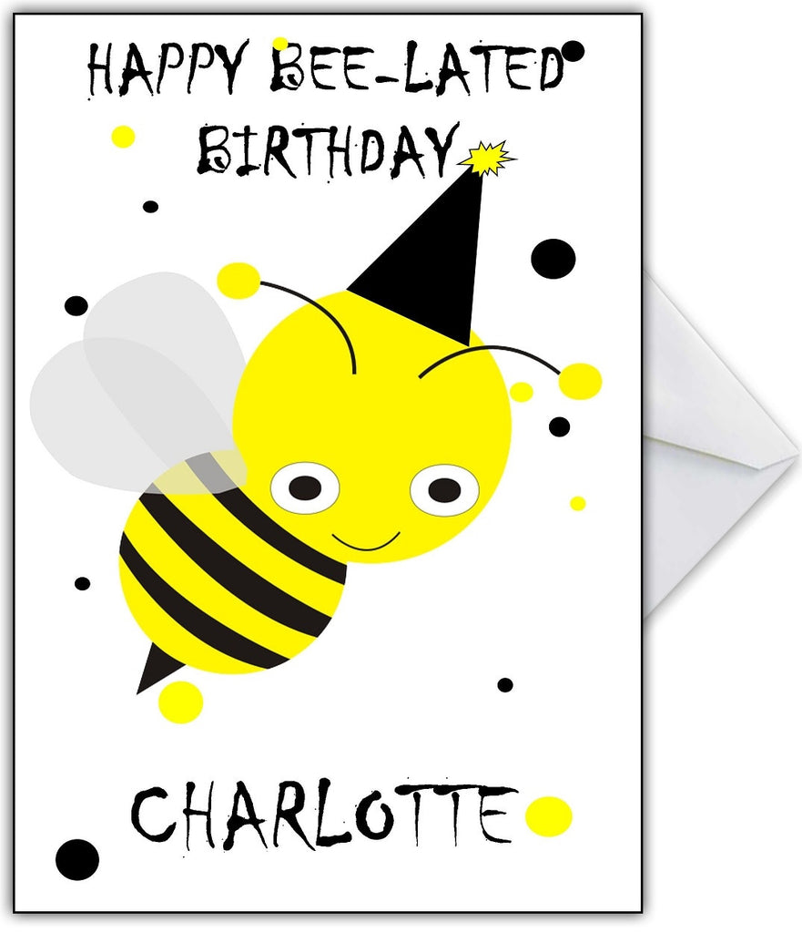 """Happy Bee-Lated Birthday!"" Cute busy bee belated Birthday Card - That Card Shop"