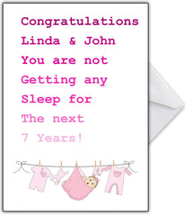 "Funny New Baby Card - BOY or GIRL ""You're never sleeping again!"" - That Card Shop"