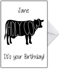 "Naughty Birthday Card ""Holy Cow...it's your Birthday!!"" - That Card Shop"