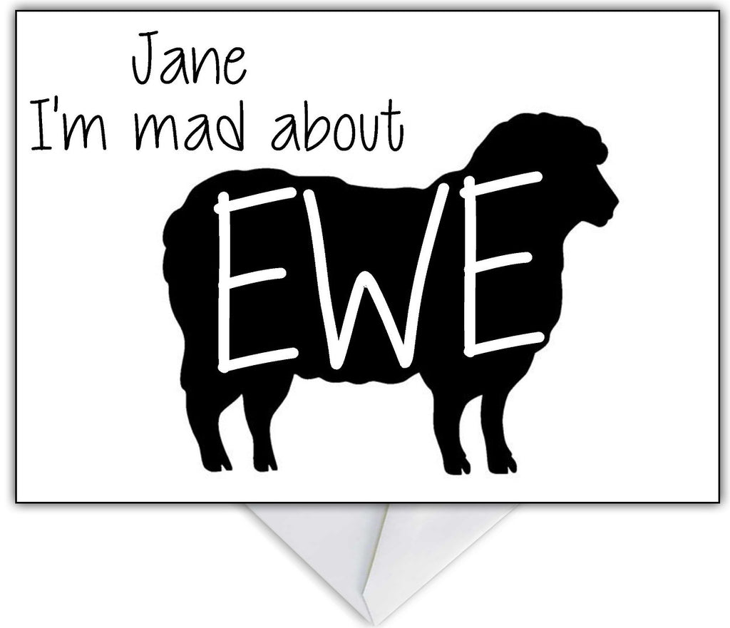 """Mad about Ewe"" Funny Personalised greetings Cards for any occasion - That Card Shop"
