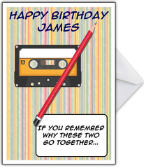 "Retro Cassette Tape & Pencil Card ""If you remember..."" - That Card Shop"