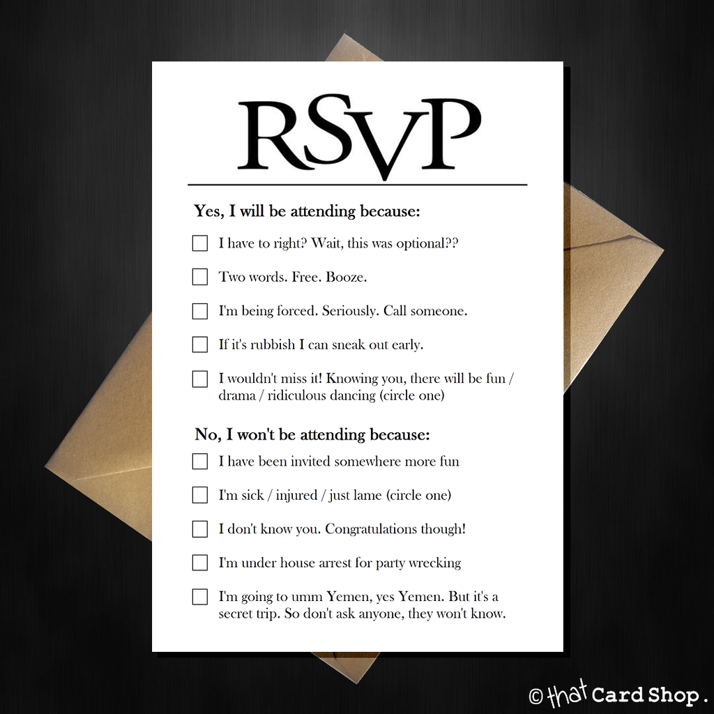 Joke RSVP card with hilarious options, funny comedy acceptance - That Card Shop