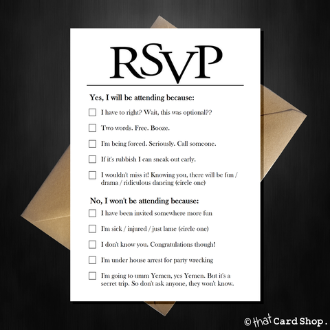 Joke RSVP card with hilarious options, funny comedy acceptance