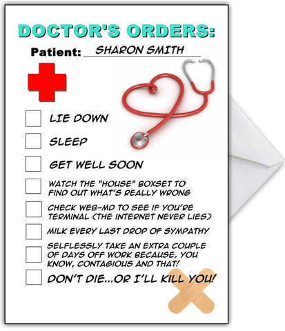 "Funny Get Well Soon Card ""Doctor's Orders!"""