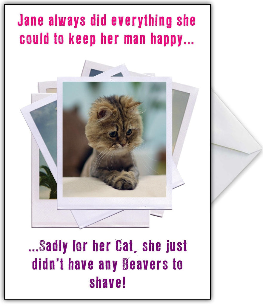 """Shaved Beaver??"" Hilarious Photo Humour Birthday Card - That Card Shop"