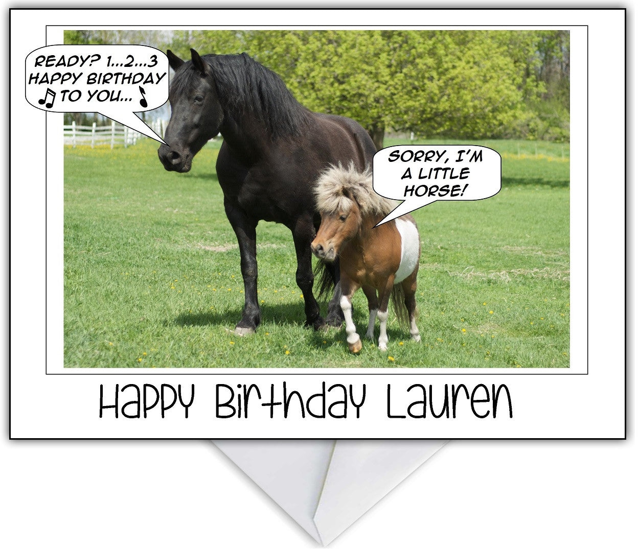 "Photo Humour Birthday Card ""Sorry, I'm A Little Horse"