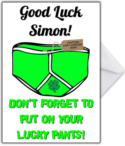 "Funny Good Luck Card - ""Lucky Pants!"""