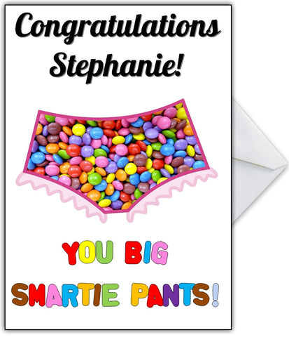 "Funny Well Done Card ""Congratulations Smartie Pants"""