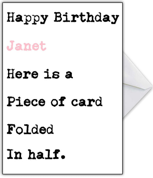 "Funny Birthday Card For Her ""It Is Just A Piece Of Card"
