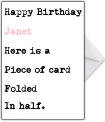 "Funny Birthday Card for her ""It is just a piece of card!"" - That Card Shop"