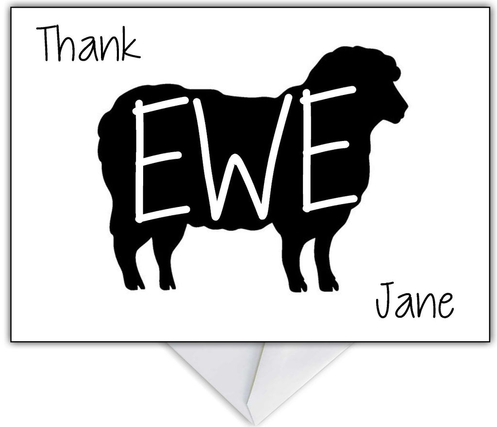"""Thank Ewe!"" Funny Sheep Thank You Card - That Card Shop"