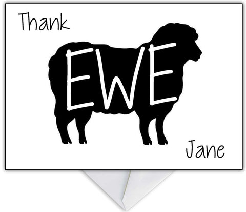 """Thank Ewe!"" Funny Sheep Thank You Card"