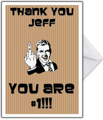 "Rude Thank You Card - ""You are No. 1!"" Middle Finger! - That Card Shop"