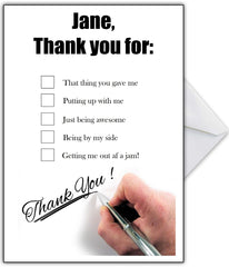 Thank You Card with hilarious options or add your own funny reasons - That Card Shop