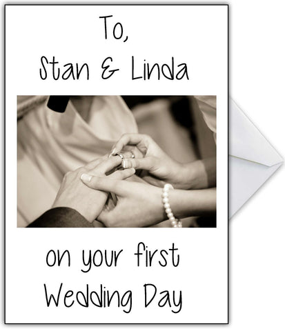 "Rude Wedding Card with names ""on your FIRST marriage!"""