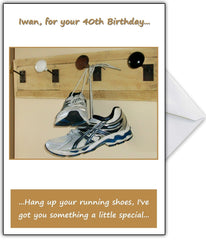 """Time To Hang Up Your Running Shoes!"" Funny Birthday Card - That Card Shop"