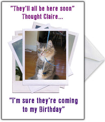 "Sad Kitty Personalised Birthday Card - ""Noone's at mah Party!"" - That Card Shop"
