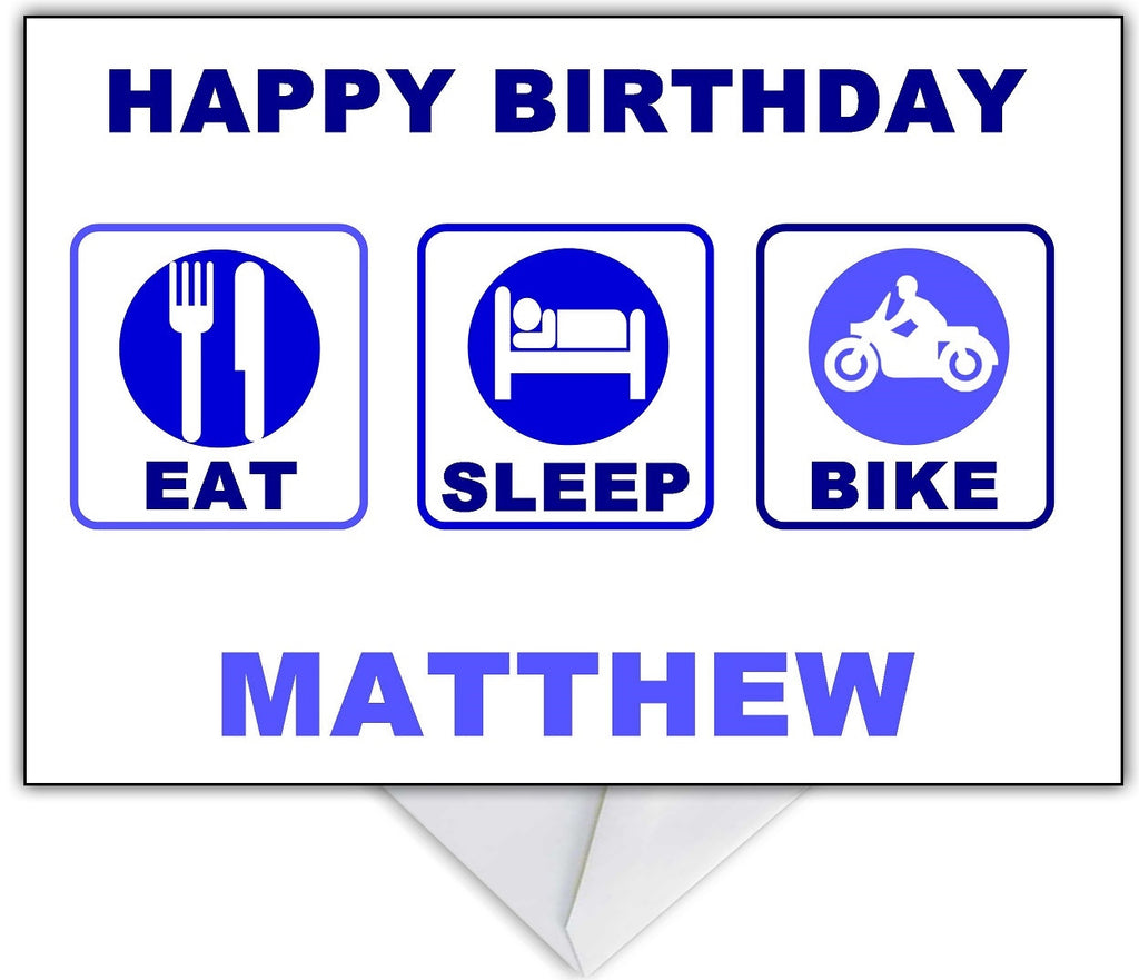 """Eat, Sleep, Bike...Repeat!"" Motorbike themed Card for any occasion - That Card Shop"