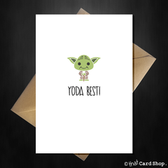 Funny Cute Yoda Birthday / Anniversary Card - Yoda Best! - That Card Shop