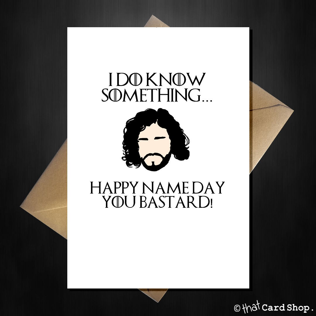 Funny Game of Thrones Birthday Card John Snow doesnt know nothing