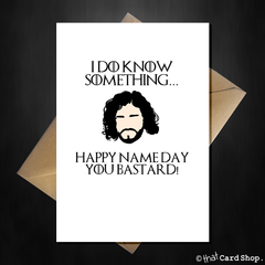 Funny Game of Thrones Birthday Card - John Snow doesn't know nothing! - That Card Shop