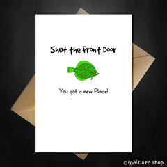 Funny Pun New Home Card - You got a new Plaice! - That Card Shop