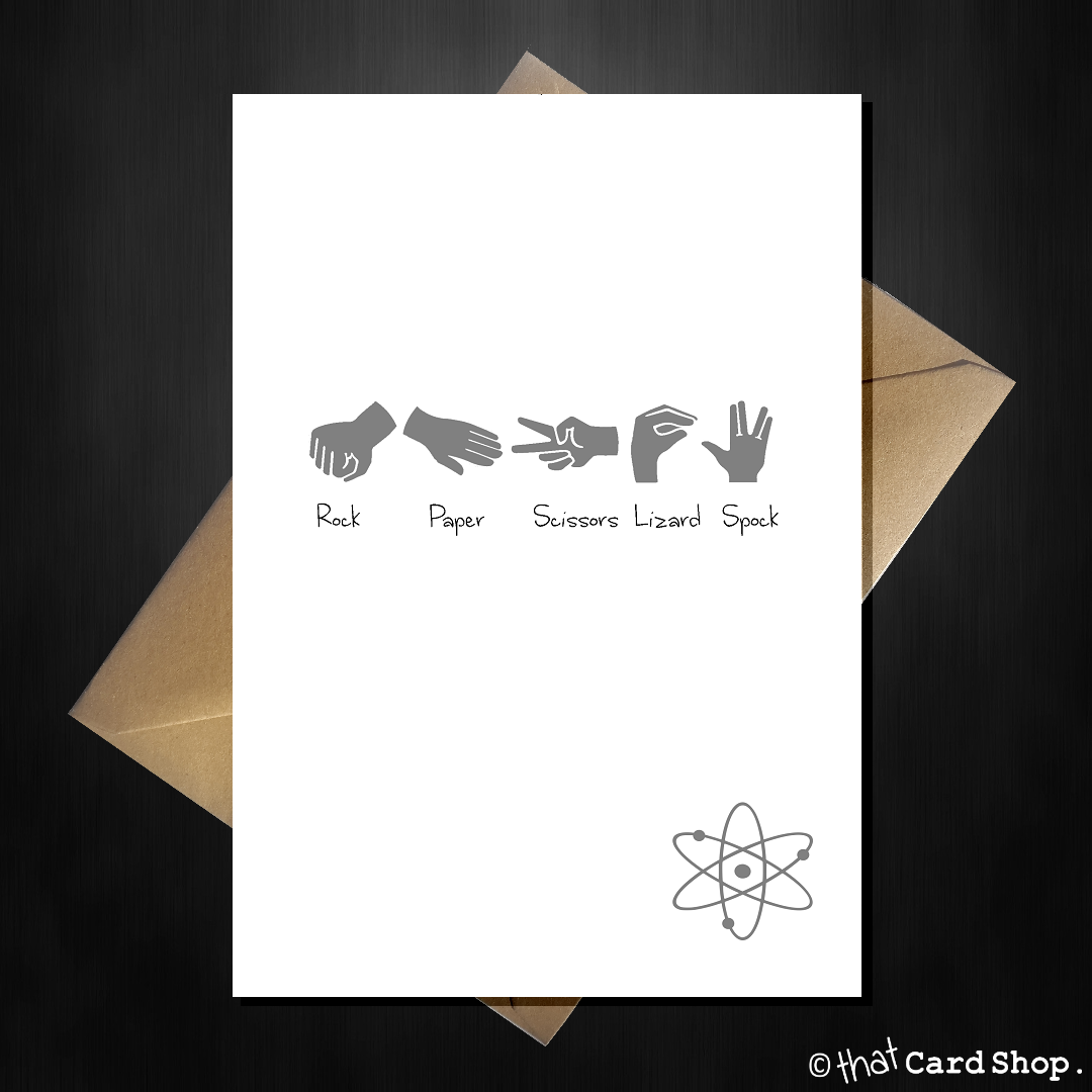 Big Bang Rock Paper Scissors Lizard Spock Bisognieducativispeciali Sheldon Copper Cooper Theory Greetings Card That Shop