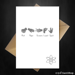 Big Bang Theory Greetings Card - Rock Paper Scissors Lizard Spock - That Card Shop