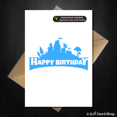 Funny Fortnite Birthday Card - Achievement Unlocked!