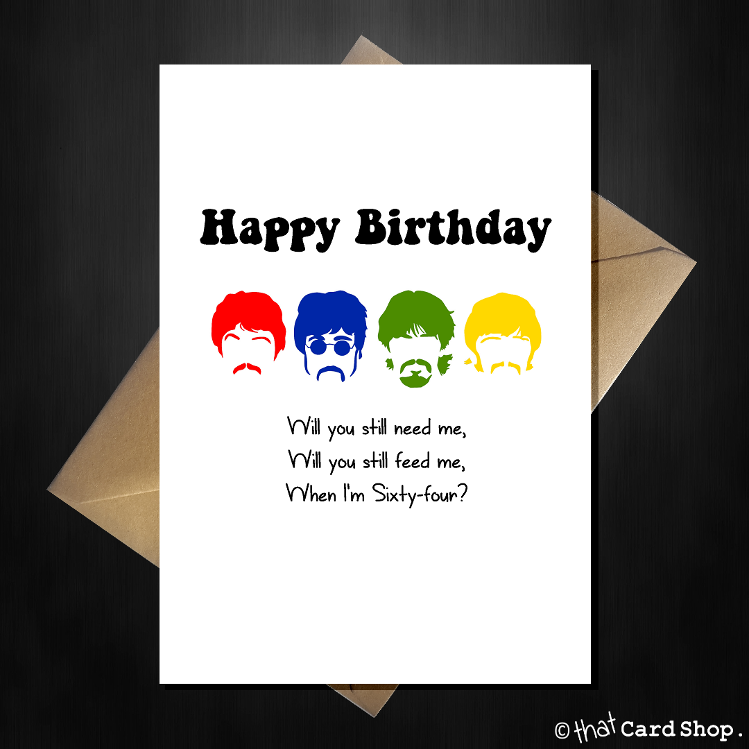 The Beatles Funny Birthday Cards Multi Designs