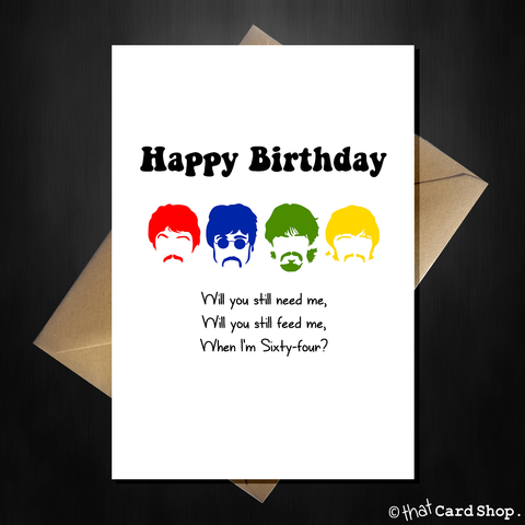 The Beatles Funny Birthday Cards -Multi designs