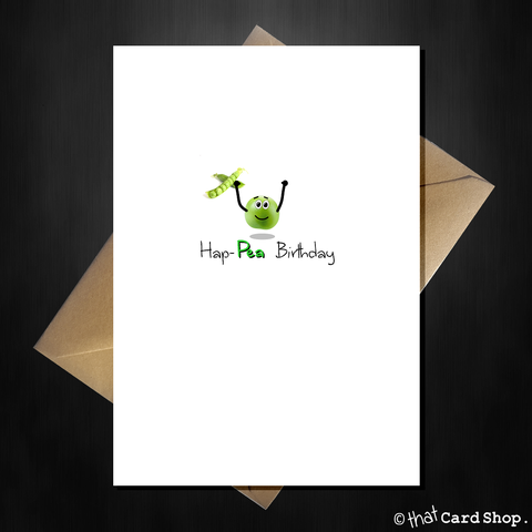 Cute Birthday Card - Hap-pea Birthday!