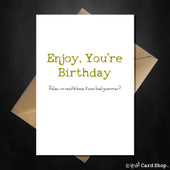 Funny Bad Grammar Birthday Card - It's You're Birthday! - That Card Shop