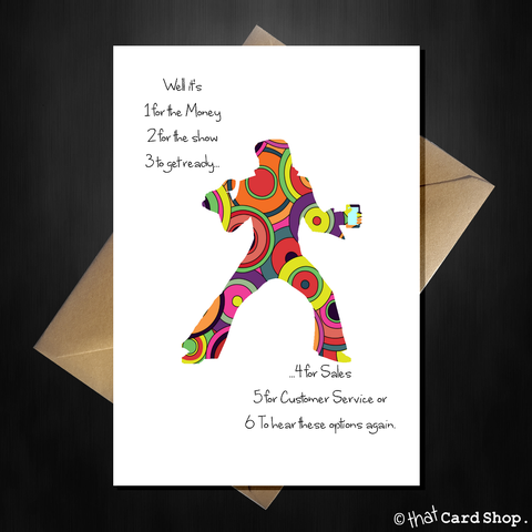 Elvis Presley Birthday Card - Funny Blue Suede Shoes Joke