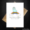 Funny Birthday Card - Cute Llama-corn on a rainbow wishes you a magical Birthday - That Card Shop
