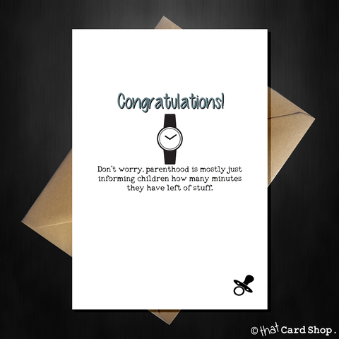 Funny New Baby Card - Parenting is easy!