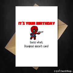 Funny Deadpool Card - Mr Pool doesn't care that it is your Birthday - That Card Shop