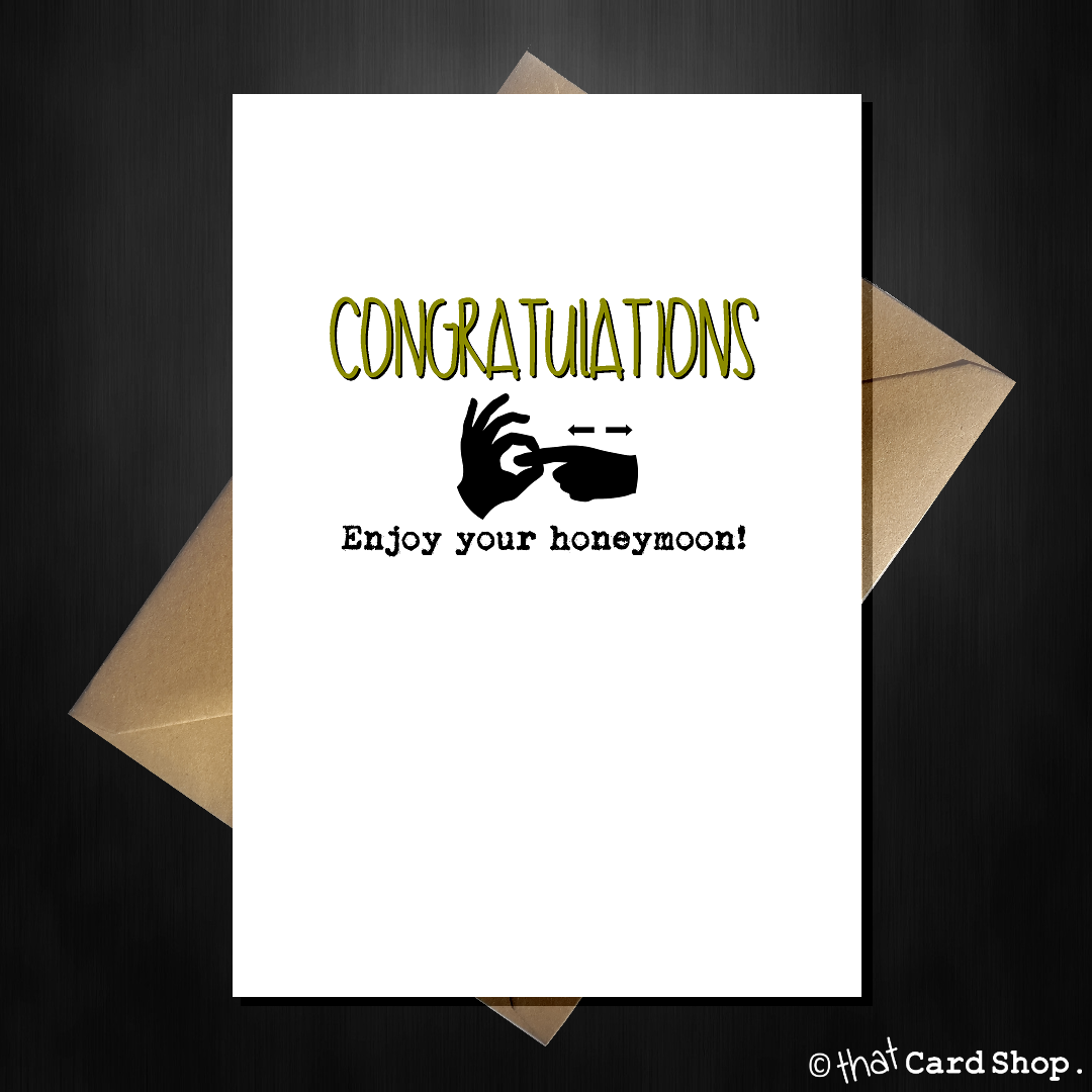 Rude wedding engagement card congratulations enjoy the rude wedding engagement card congratulations enjoy the honeymoon that card shop kristyandbryce Images
