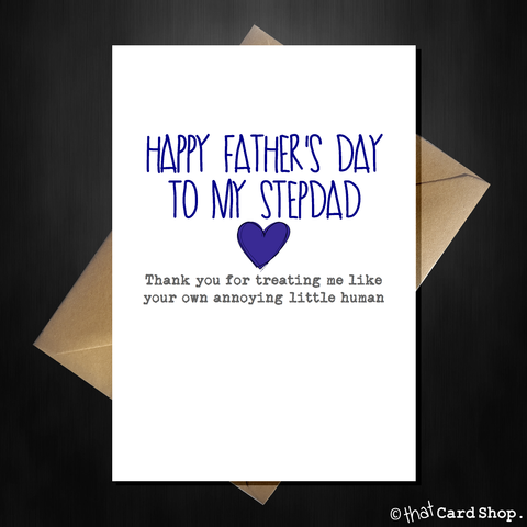 Personalised Funny Happy Fathers Day Card - Thank You Stepdad