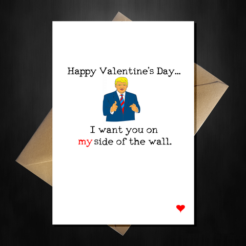 Funny Donald Trump Valentines Card - I want you on my side of the wall!
