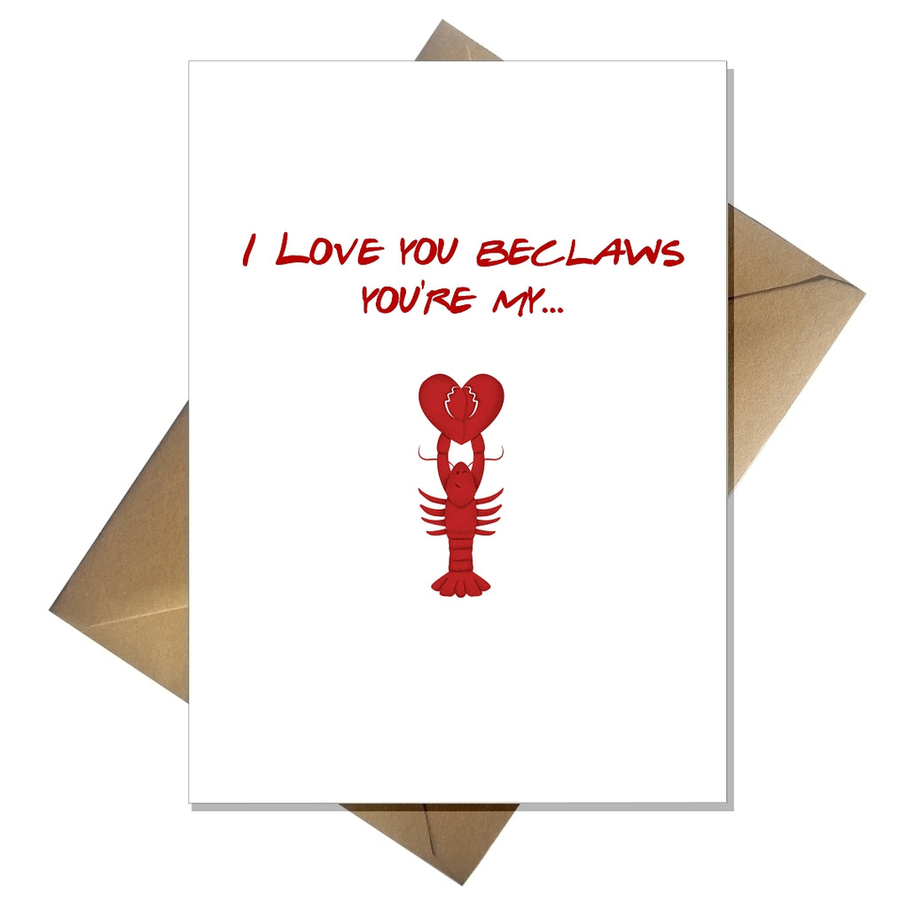 Cute Friends Valentines Card  I Love you beclaws you're my lobster TV Netflix - That Card Shop