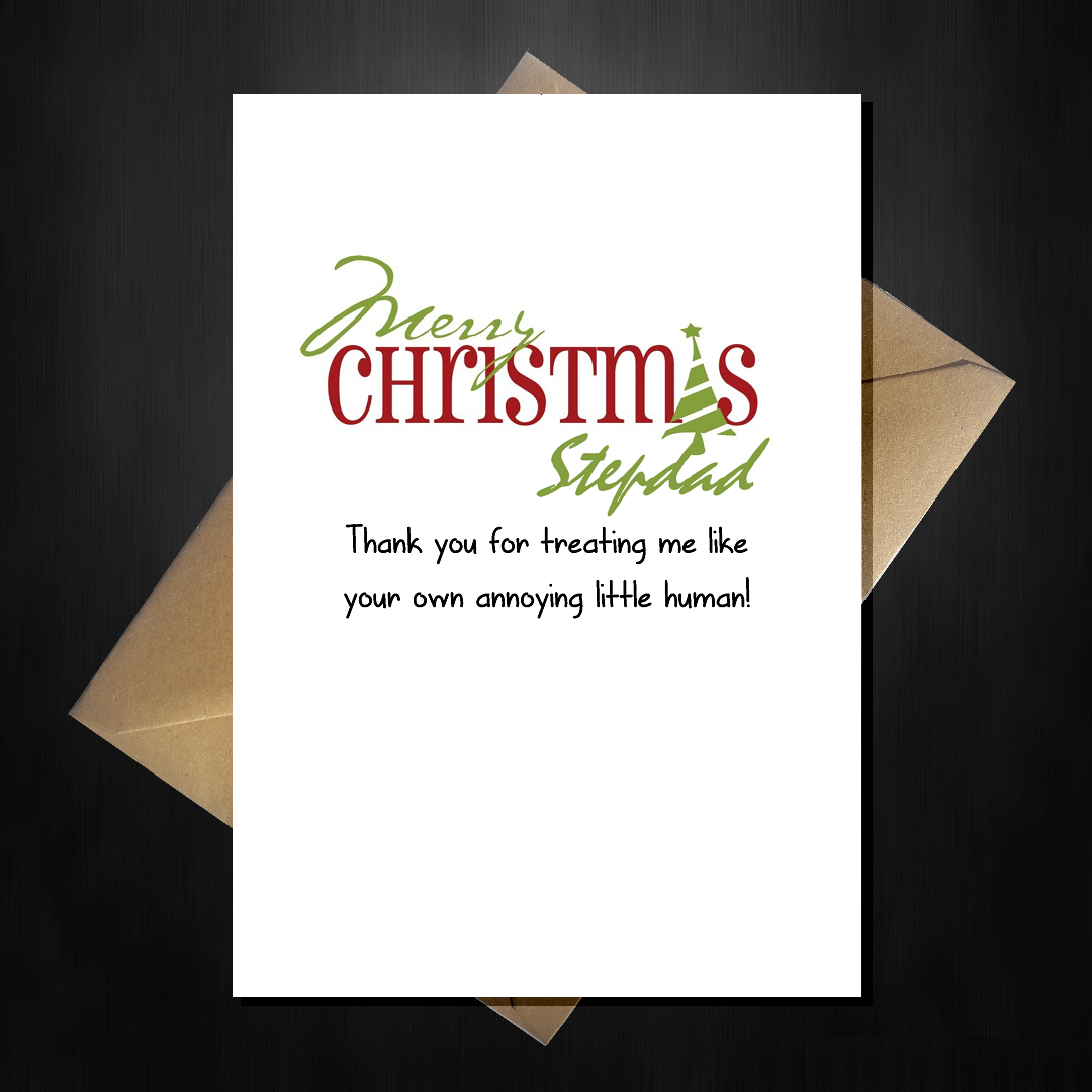 Funny Cute Christmas Card for your Step-dad - Thank You Stepdad ...