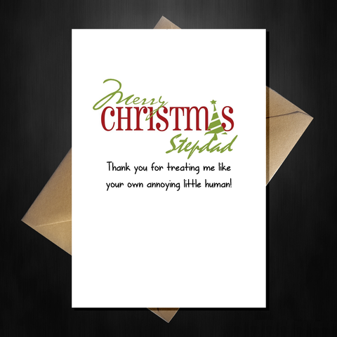 Funny Cute Christmas Card for your Step-dad - Thank You Stepdad