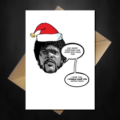 Funny Movie Themed Christmas Card - Pulp Fiction
