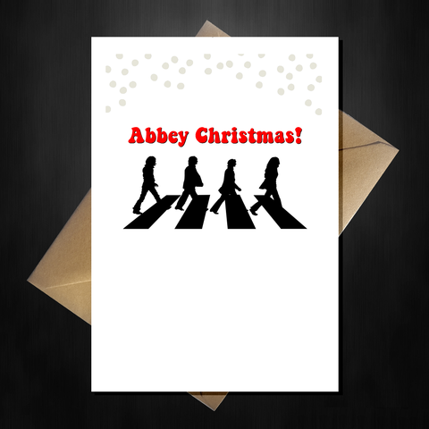 Funny Beatles Christmas Card - Abbey Xmas!