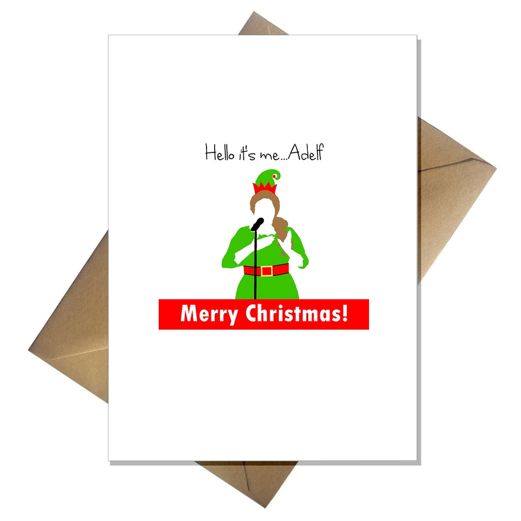 Adele Christmas Card - Hello, it's me...Adelf! Joke Pun Lovers Card - That Card Shop