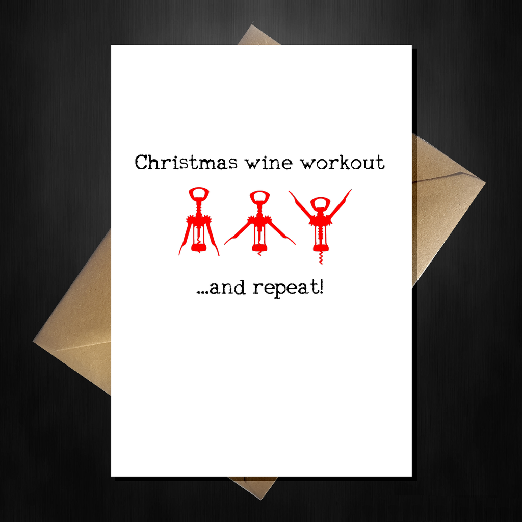 Funny 'Wine Aerobics' Christmas Card