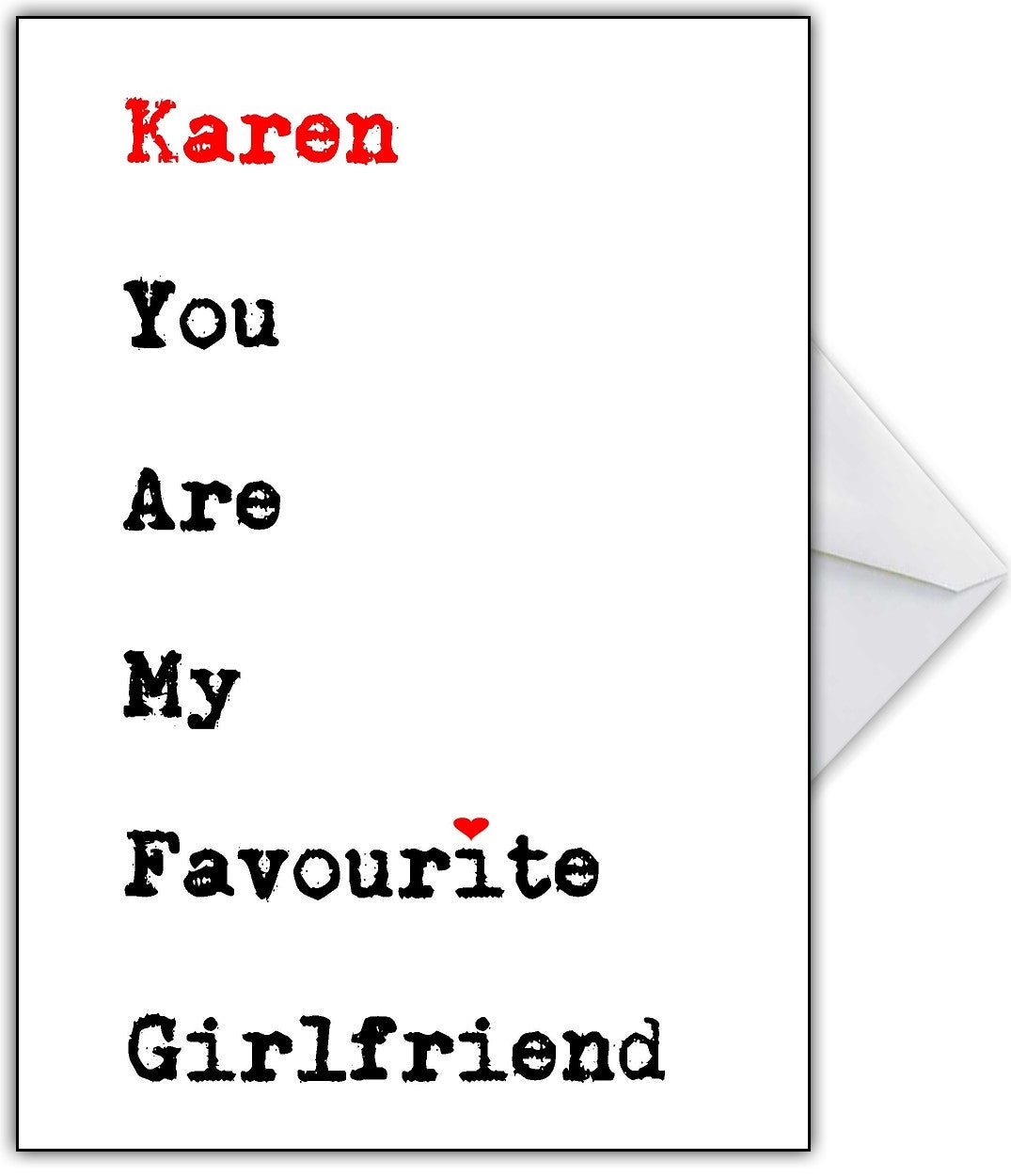 funny valentines day card for her youre my favourite girlfriend