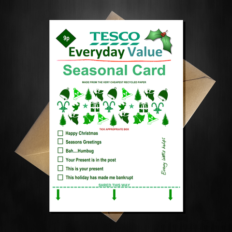 TESCO Everyday Value Christmas Card - Supermarket Spoof Funny A5 Basic Card