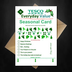 TESCO Everyday Value Christmas Card - Supermarket Spoof Funny A5 Basic Card - That Card Shop